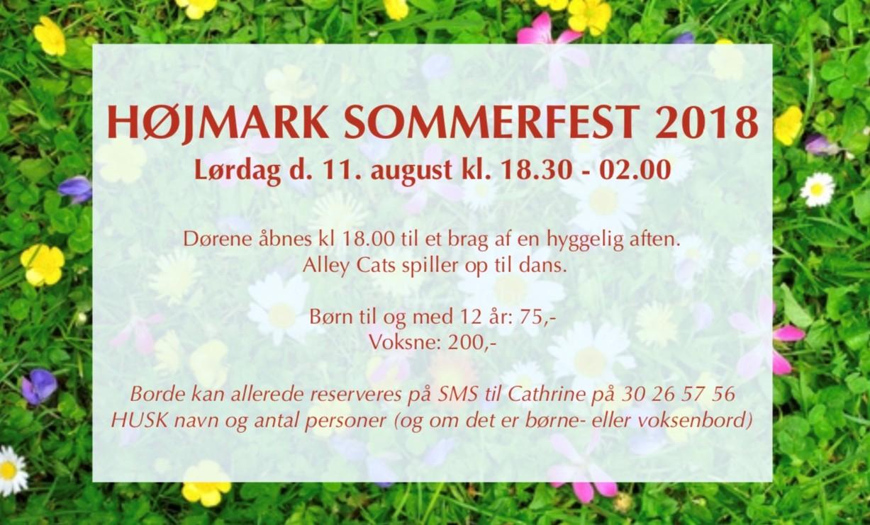 Højmark Sommerfest 2018 Lørdag d. 11. august