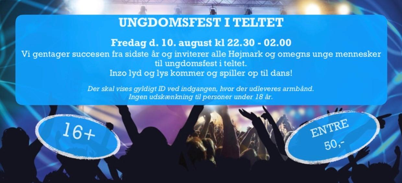 Ungdomsfest i teltet Fredag d. 10. august