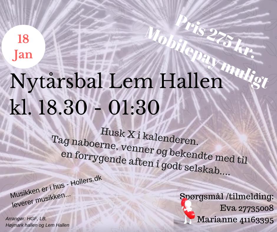 Højmark-Lem Nytårbal 2020 afholdes den 18. januar 2020 i Lem Hallen. @ Lem Hallen | Lem | Danmark