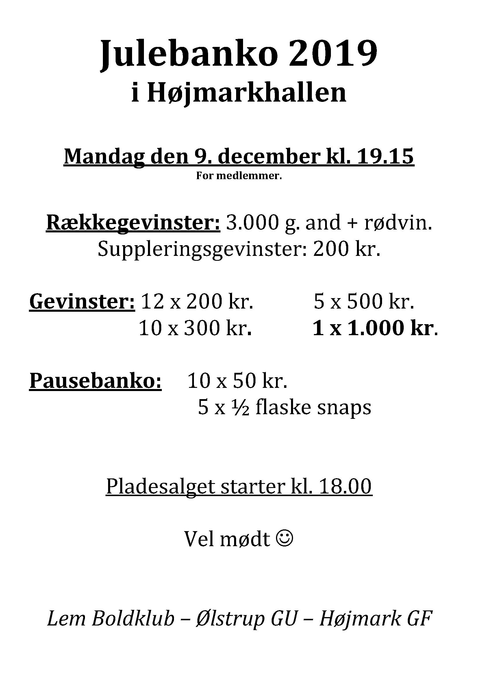 Julebanko 2019 @ Højmark Hal og Forsamlingshus
